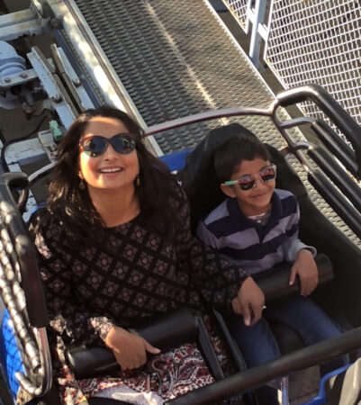 Fatema Suterwala and her son on the roller coaster